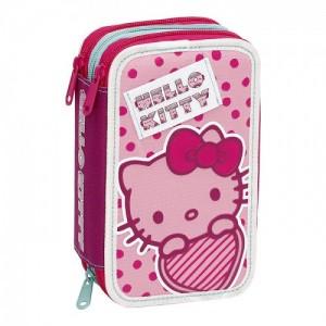 Пенал Hello Kitty, тройной, с наполнением