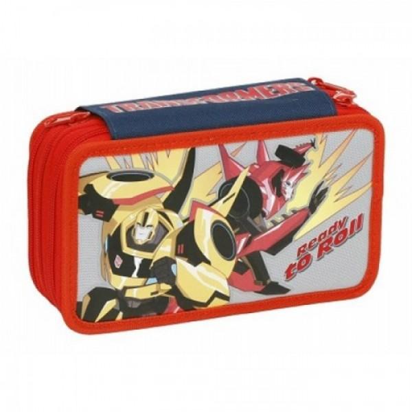 Пенал Transformers, тройной, с наполнением, 87637