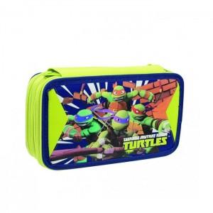 Пенал Ninja Turtles, тройной, с наполнением, TU903000