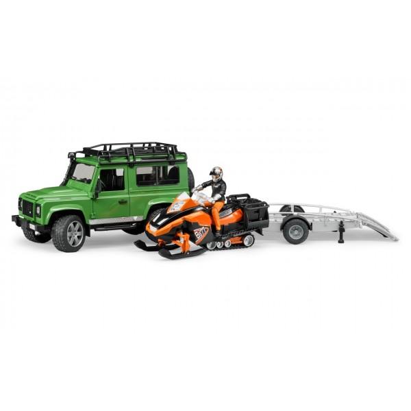 Джип Land Rover Defender Station Wagon с прицепом, сноумобилем, водителем и аксессуарами, 02594 Bruder