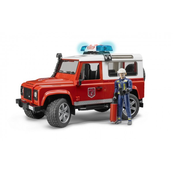 Джип Land Rover Defender Station Wagon отдел пожарной охраны с фигуркой и пожарным с огнетушителем, 02596 Bruder