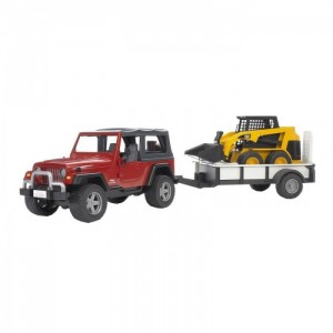Jeep Wrangler с Прицепом + Минипогрузчик CAT, Bruder 02924