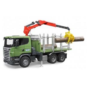 Лесовоз с погрузочным краном Scania R-series и брёвна, Bruder 03524