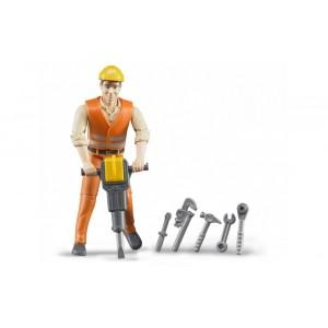 Фигурка строитель с инструментами, Bruder 60020