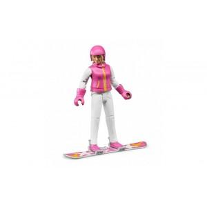 Фигурка женщина на сноуборде, Bruder 60420