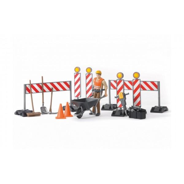 Набор для ремонта дорог Bruder с фигуркой, Bruder 62000