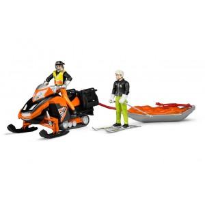 Фигурки снегоход с водителем, спасательными санями и лыжником, Bruder 63100