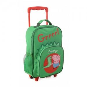Рюкзак на колесиках Peppa Pig (Свинка Пеппа) зеленый с видвижной ручкой