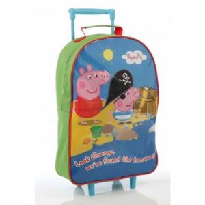 Рюкзак на колесиках Peppa Pig (Джорж Пират) зеленый на молнии