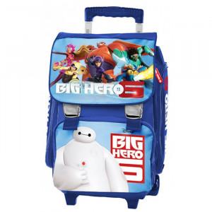 Рюкзак школьный на колесах Big Hero синий, для мальчика