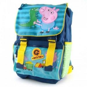 Рюкзак школьный ортопедический Peppa Pig (Свинка Пеппа) замок-защелка синий для мальчика