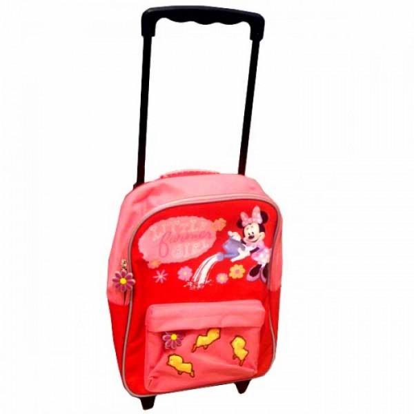 Рюкзак Minnie на колесах школьный красный с выдвигающейся ручкой