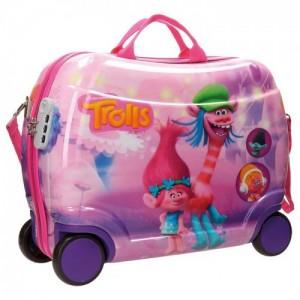 Чемодан Друзья Тролли (Trolls Friends), горизонтальный, ABS, 4 колеса, 50 см, 08216