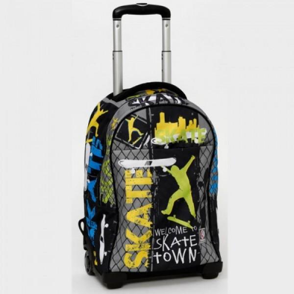 Рюкзак, чемодан на колёсах Кордата черный для подростка
