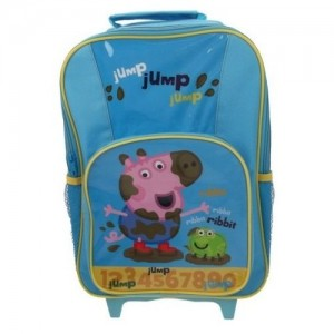 Рюкзак на колесиках Peppa Pig (Свинка Пеппа) синий с выдвижной ручкой