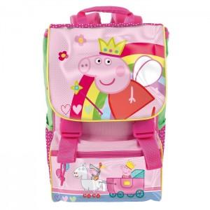 Рюкзак школьный ортопедический Peppa Pig (Свинка Пеппа) розовый с крепкой ручкой