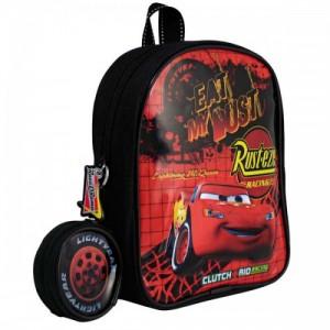 Рюкзачек Cars (Тачки) черные с кошельком, 22,5 см