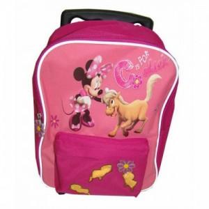 Рюкзак Minnie на колесах розовый с выдвигающейся ручкой