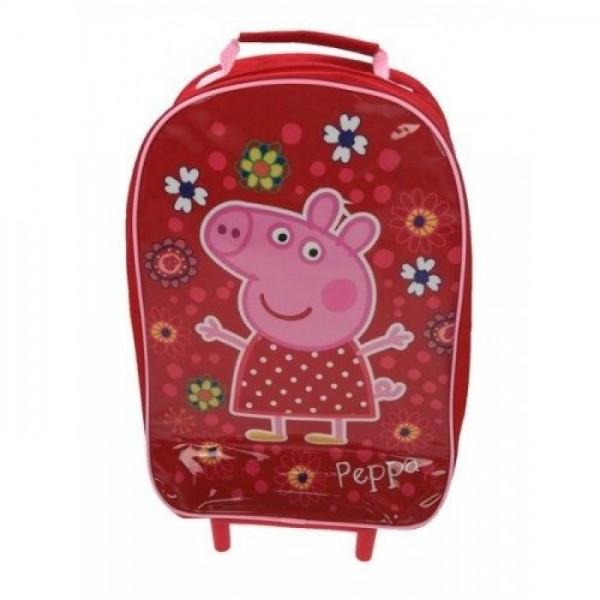 Рюкзак на колесиках Peppa Pig (Свинка Пеппа) красный с выдвижной ручкой